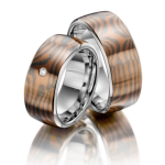 Trouwringen met houtnerf van Mokume Gane 9mm breed - Circles
