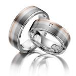 Trouwringen-zilver 925, roodgoud 9 kt – palladium/zilver 800