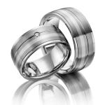 Trouwringen zilver 925 met palladium/zilver 800 Luce di Luna