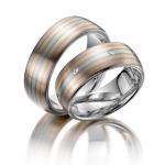 Prachtige trouwringen – mooie pasteltinten goud- 7 diamanten