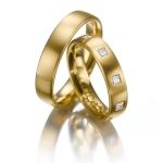 Geelgouden trouwringen Princess slijpsel 9 diamanten 0.05ct