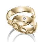 Gepolijste geelgouden trouwringen met diamant