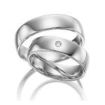 Witgouden gepolijste trouwringen – 5 mm breed diamant 0.02ct