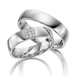 Trouwringen pavé zetting in vierkant met diamanten 0.008ct