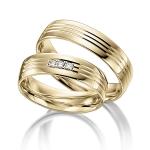 Geel gouden trouwringen diamanten met pavé zetting 0.015ct