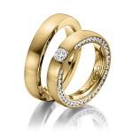 Diamant ringen uitgevoerd in het geelgoud - Circles