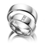 Platina trouwringen met 3 Princessen - Circles trouwringen