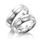 Luxe platina trouwringen met rondom diamanten