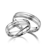 Harde platina trouwringen met briljant geslepen diamanten - Circles
